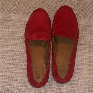 Jcrew suede red loafers size 7.5